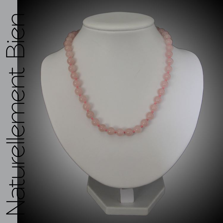 Collier Perles Quartz Rose
